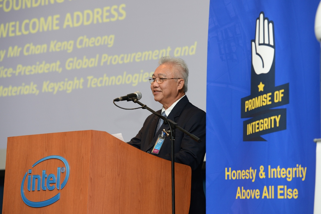 Mr Chan Keng Cheong, Vice-President, Global Procurement and Materials, Keysight Technologies giving the Founding Members' Welcome Address